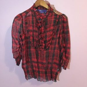 Miley Cyrus Red Plaid Blouse